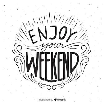 Ręcznie rysowane szczegóły weekendowe pozdrowienia