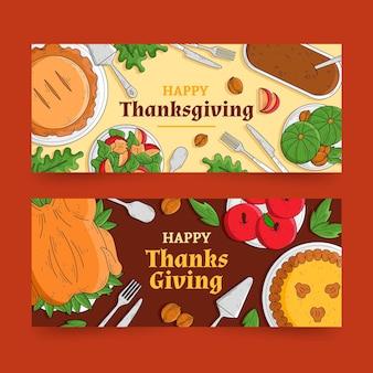 Ręcznie rysowane szczęśliwe banery dziękczynienia
