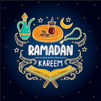 Ręcznie rysowane szczęśliwe obiekty ramadan kareem