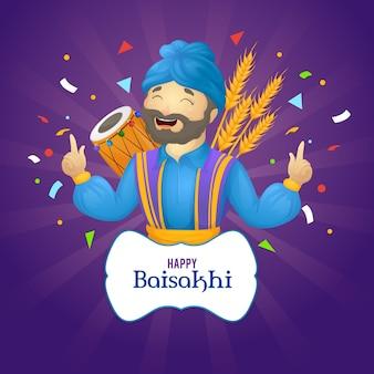 Ręcznie rysowane szczęśliwe święto baisakhi