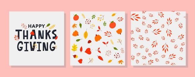 Ręcznie rysowane szczęśliwe święto dziękczynienia napis typografia plakat uroczystość cytat na pocztówkę pocztówkę ev...