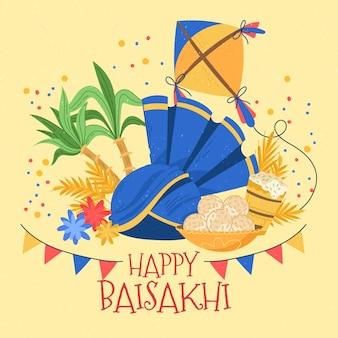Ręcznie rysowane szczęśliwe wydarzenie baisakhi