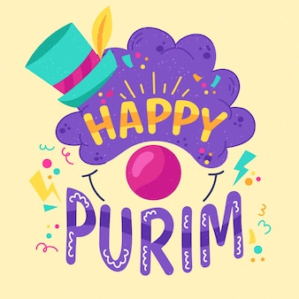 Ręcznie rysowane szczęśliwego dnia purim
