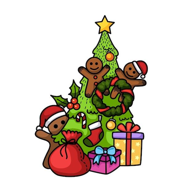 Ręcznie rysowane szczęśliwego nowego roku i wesołych świąt