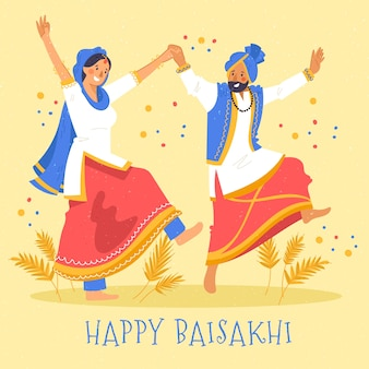 Ręcznie rysowane szczęśliwy baisakhi koncepcja