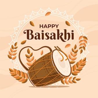 Ręcznie rysowane szczęśliwy baisakhi