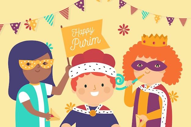 Ręcznie rysowane szczęśliwy dzień purim z maskami