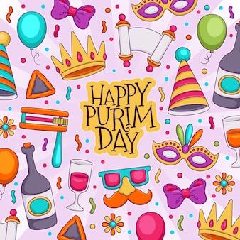 Ręcznie rysowane szczęśliwy dzień purim
