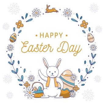 Ręcznie rysowane szczęśliwy dzień wielkanocny króliczek z szalikiem