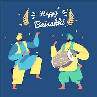 Ręcznie rysowane szczęśliwy festiwal baisakhi
