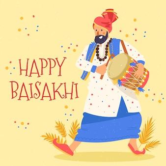Ręcznie rysowane szczęśliwy motyw baisakhi