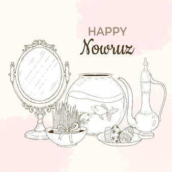 Ręcznie rysowane szczęśliwy nowruz ilustracja z lustrem i akwarium