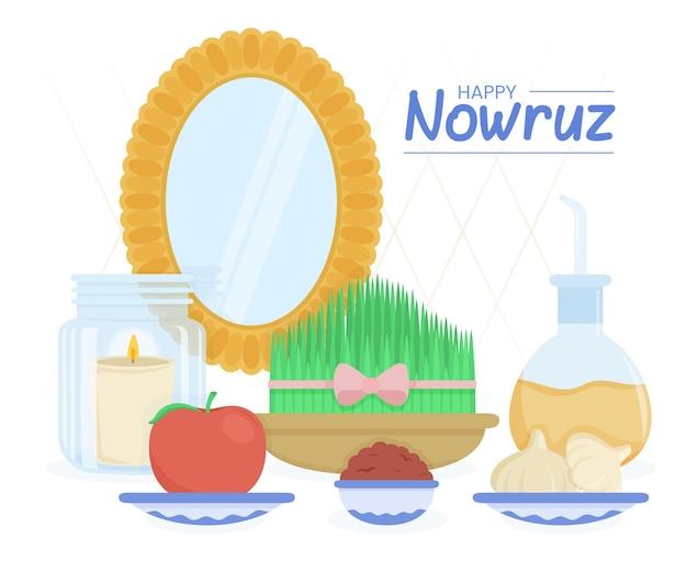 Ręcznie rysowane szczęśliwy nowruz ilustracja z lustrem i kiełkami