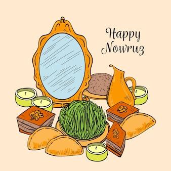 Ręcznie rysowane szczęśliwy nowruz ilustracja z lustrem