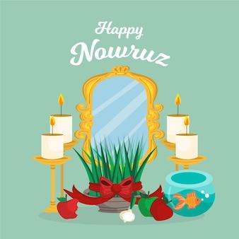 Ręcznie Rysowane Szczęśliwy Nowruz Ilustracja Premium Wektorów
