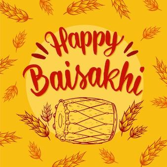 Ręcznie rysowane szczęśliwy styl baisakhi
