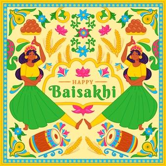 Ręcznie rysowane szczęśliwy tło baisakhi