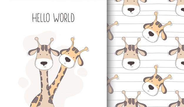 Ręcznie rysowane szczęśliwy żyrafa wzór i kartkę z życzeniami.