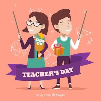 Ręcznie rysowane szczęśliwych nauczycieli w ich dniu