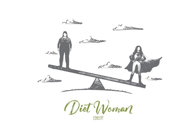 Ręcznie rysowane szczupłe i grube kobiety stojące na wadze