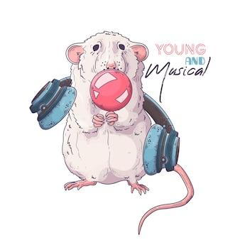 Ręcznie rysowane szczur nadmuchuje gumę balonową