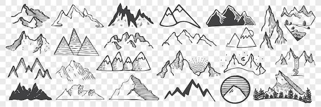 Ręcznie rysowane szczyty górskie doodle zestaw. zbiór szkiców kredą ołówkiem w różnych kształtach wzgórza lub szczyty skalne na przezroczystym tle. ilustracja highland obiektów.