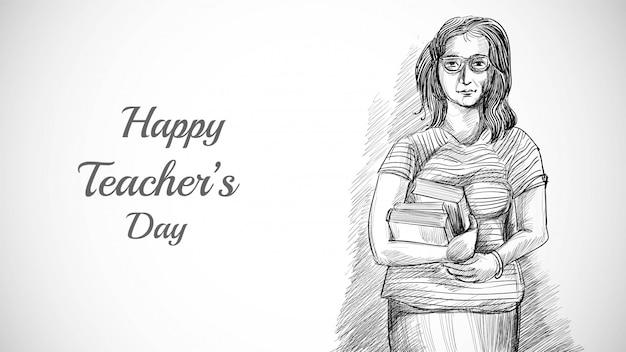 Ręcznie rysowane szkic artystyczny ładny nauczyciel z tłem dnia nauczyciela