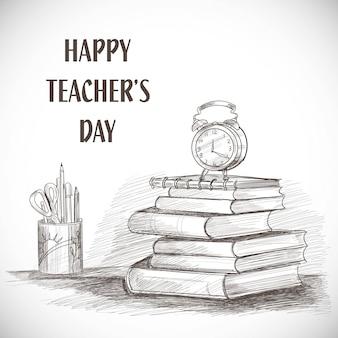 Ręcznie rysowane szkic artystyczny projekt kompozycji szczęśliwego dnia nauczyciela