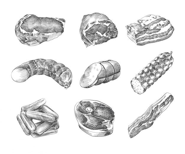 Ręcznie rysowane szkic assorted sausages. zestaw zawiera kiełbaski, kiełbasę, szynkę, boczek, kiełbasę lekarską, kiełbasę wędzoną, wieprzowinę na zimno