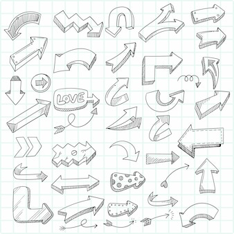 Ręcznie rysowane szkic geometryczne doodle zestaw strzałek