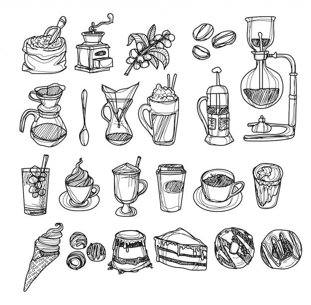 Ręcznie rysowane szkic kawy czarno-białe