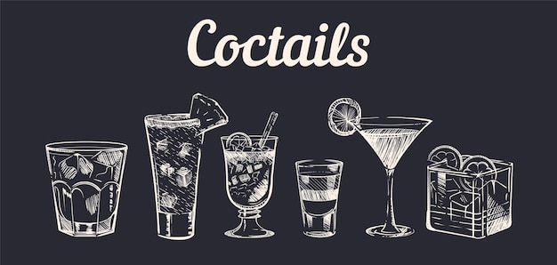 Ręcznie rysowane szkic koktajle alkoholowe