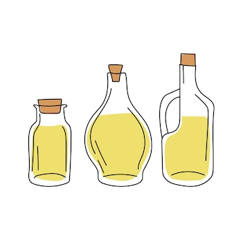 Ręcznie rysowane szkic - kolekcja butelek oliwy z oliwek. elementy wystroju