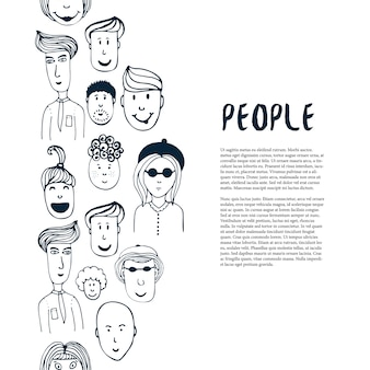 Ręcznie rysowane szkic kolekcja ludzi. szablon projektu biznesowego wektor. granica z ludźmi na ulotki, baner, plakat, broszura