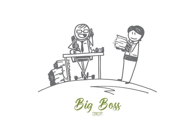 Ręcznie rysowane szkic koncepcji big boss