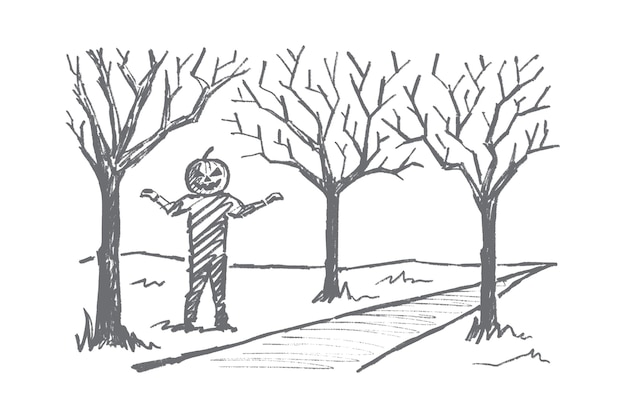 Ręcznie rysowane szkic koncepcji halloween