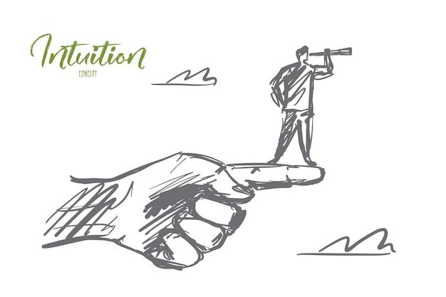 Ręcznie rysowane szkic koncepcji intuicji