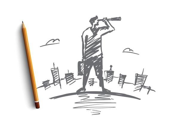 Ręcznie rysowane szkic koncepcji wyszukiwania ołówkiem nad nim