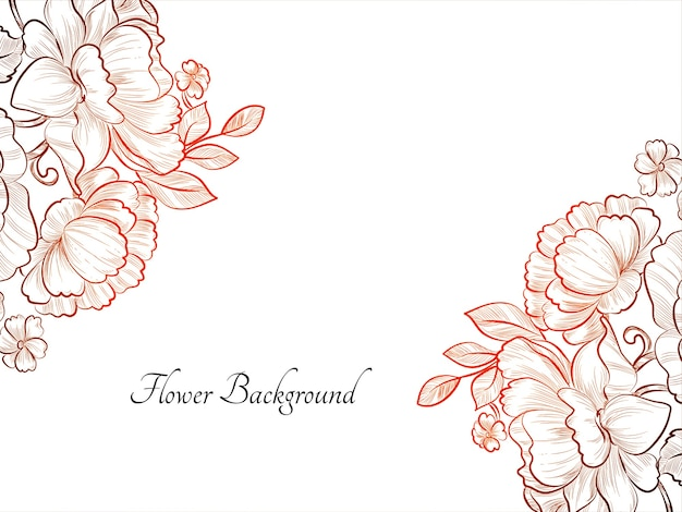 Ręcznie rysowane szkic kwiat czerwony kolor tła