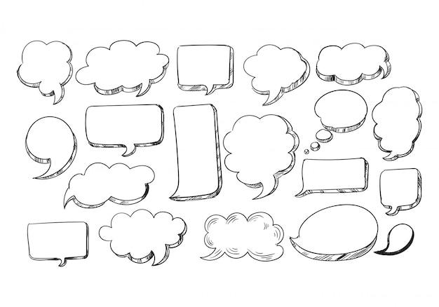 Ręcznie rysowane szkic mowy bańka scenografia