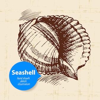 Ręcznie rysowane szkic muszla. vintage ilustracja