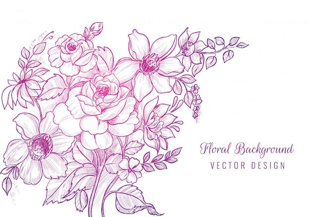 Ręcznie rysowane szkic ozdobny kwiatowy tło