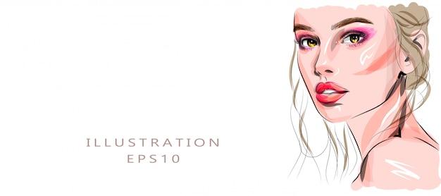 Ręcznie rysowane szkic piękna młoda kobieta twarz. stylowy glamour z nadrukiem. ilustracja moda do projektowania salon piękności, makijaż artysty wizytówki tle.