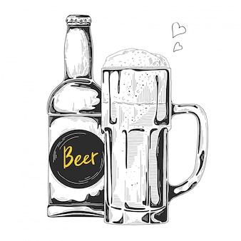 Ręcznie rysowane szkic piwa