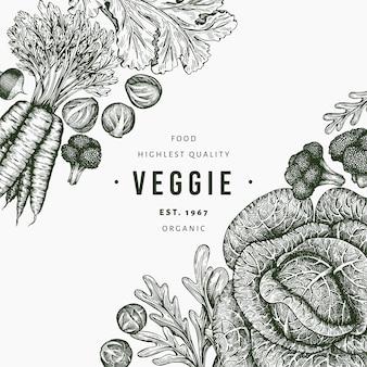 Ręcznie rysowane szkic projektu warzyw. szablon świeżej żywności ekologicznej. retro tło warzywo. grawerowane ilustracje botaniczne w stylu.