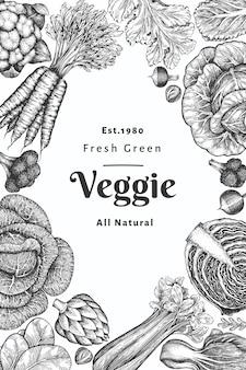 Ręcznie rysowane szkic projektu warzyw. szablon transparent ekologicznej świeżej żywności.