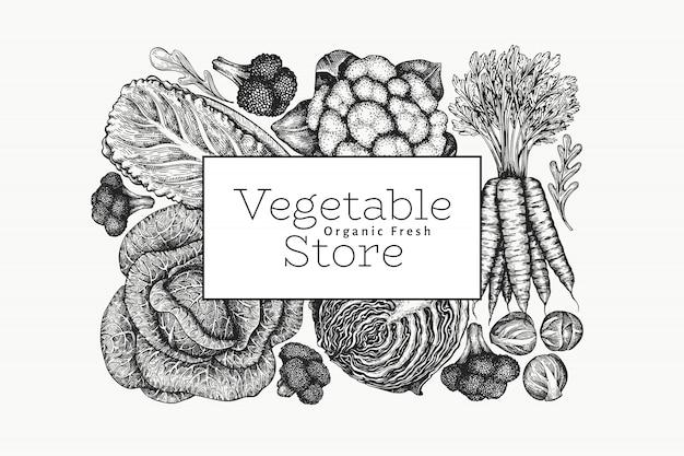 Ręcznie rysowane szkic projektu warzyw. szablon transparent wektor ekologicznej świeżej żywności.