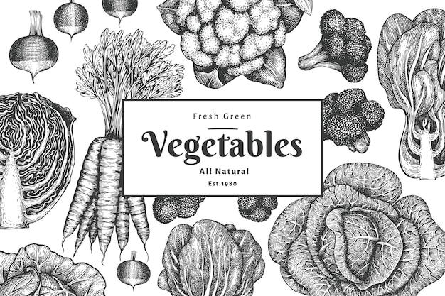 Ręcznie rysowane szkic projektu warzyw. sztuka tło warzyw. ilustracje botaniczne w stylu grawerowanym.