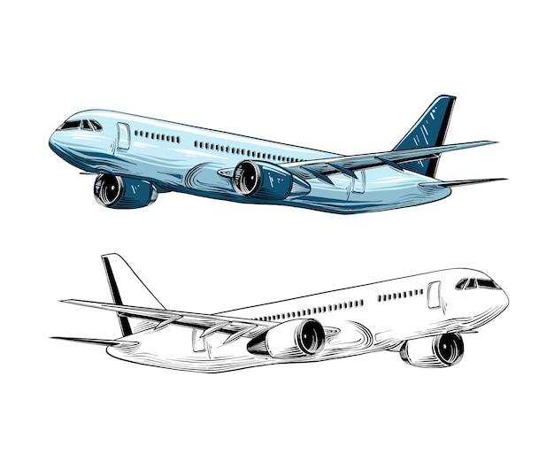 Ręcznie rysowane szkic samolotu w kolorze niebieskim na białym tle.