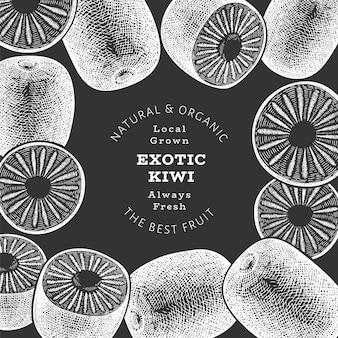 Ręcznie rysowane szkic styl tło kiwi. ekologiczne świeże owoce na tablicy kredowej. owoc retro kiwi